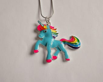 Magical BLUE UNICORN with RAINBOW Mane & Tail Large Charm Necklace