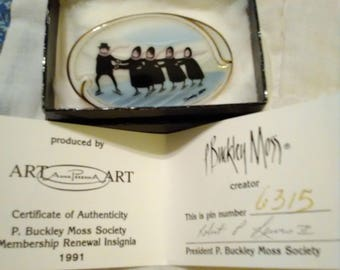 1991 P Buckley Moss Society Ice Skating. MIB.  Brooch.