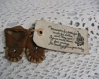 Moccasins, Little Hand Made Doll Moccasins with Seed beads and Label
