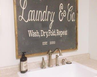 Farmhouse Decor Sign Wooden Fixer Upper Laundry
