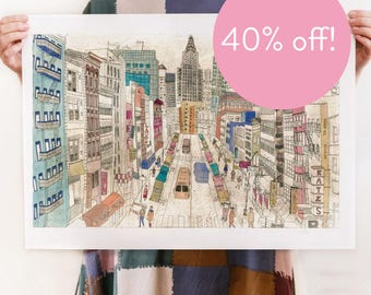 40% OFF!  New York - Reproduction of an original Artwork