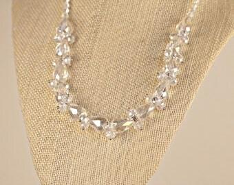 Sparkling, Vintage, Clear Crystal Aurora Borealis Necklace, 1950's Jewelry