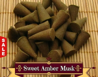 Sale -  Sweet Amber Musk Incense Cones - Hand Dipped Incense Cones