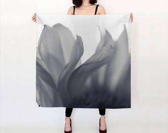 Flower Photo scarf, Blue Ethereal Wearable Art, Digital Print scarf, Nature Scarf, Wispy Scarf, Wedding shawl, Wall hanging, Gift for Women