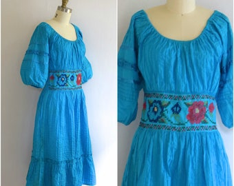 Mexican Pintuck Dress/ Aqua Boho Midi Dress/ Cotton Peasant Dress w Cross Stitch/ Women's Size Medium