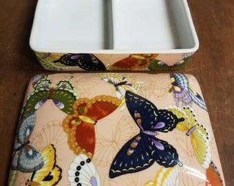 Vintage Neiman Marcus Butterfly Jewelry Trinket Box