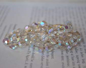 Vintage Crystal Necklace - 1950s Mid Century Aurora Borealis Crystal, Gold Filled Chain