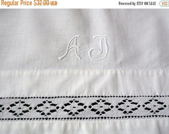 """25% SUMMER SALE vintage white bed sheet with monogram """"AJ"""" embroidery hand embroidered Monogram Bedding and decorative lace"""