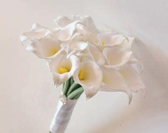 Alternative Wedding bouquet Keepsake Bridal bouquet White Calla Lilly Bouquet Clay Bridal bouquet Elegant bouquet Toss bouquet