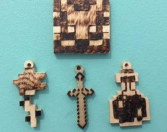 Wooden Minecraft Keychains