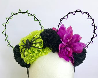 """Floral """"BOO to You"""" Wire Reversible Mouse Ears 