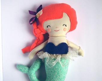 Mermaid doll. Handmade rag doll. cloth doll. Mermaid decor. christmas gift for girl.