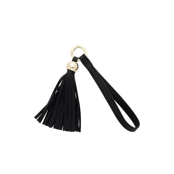 black tassel keychain vegan leather keychain accessory boho keychain