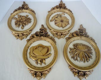 Set of 4 Floral Wall Plaques - Dart Industries