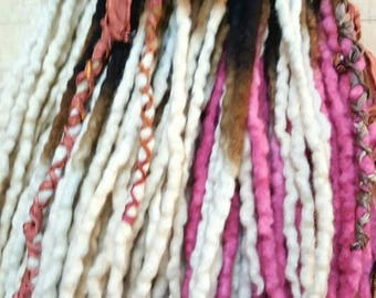 Dreadlocks  Custom Wool Dreads Handmade Hair Extensions Wool Dreads Ombre Hair Accessories Set of 45