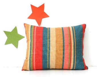 Lumbar 12 x 16 Pillow Cover, Striped Accent Pillow, Red Blue Gold Beige Pink and Green Toss Pillow Case, Bedroom Pillow Sham, Throw Pillow