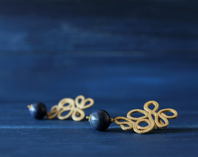 Little lapis earrings, wedding jewelry