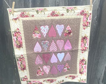 Applique Roses Heart Table Topper