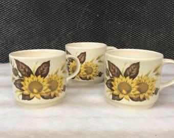 3 x retro vintage Johnson of Australia Sunflower cups