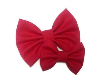 Red Valentine's Day Bow | Fabric Bow | Handmade Hair Bow | Hair Clip | Headband