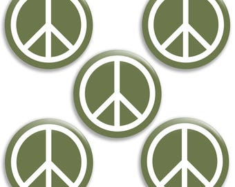"""Set of Five Peace Buttons - 2.25"""""""