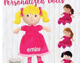 Gift for little girl etsy personalized dolls personalized doll for baby little girl gift young girl gift idea negle Choice Image