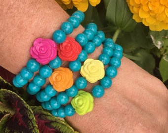 Turquoise beaded bracelet with rose cabochon bracelet - happy colorful beaded stretch bracelet -  Love Squared Designs
