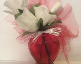 New, Red Glass Heart Shaped Valentine Flower Vase, Small Valentine Flower Arrangement, Heart Floral gift,