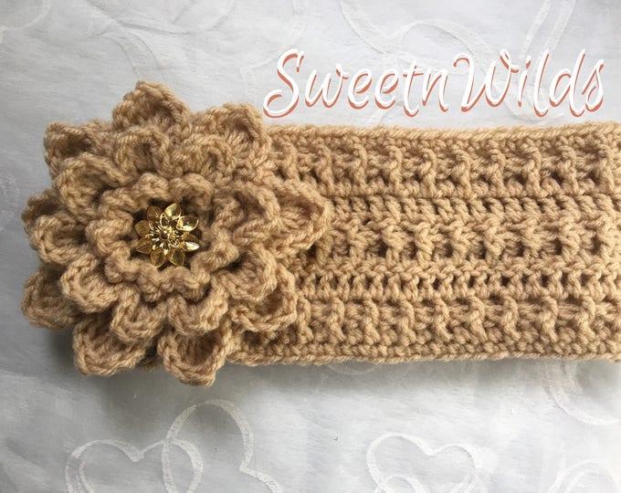 Crocheted Headbands-Earwarmers -Big Fower-READY TO SHIP-Womens accessories -Mens Headbands -Fall Hats-Winter Wear-Christmas Gift Ideas