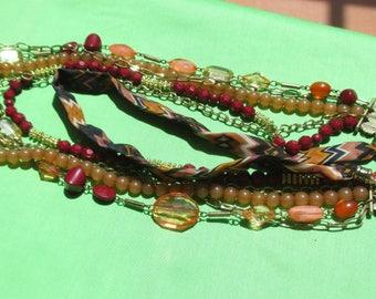 Retro Fabric & Beaded Flower Rhinestone Multi Strand Necklace