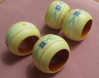 Lot Of Retro Yellow & Blue Flower Napkin Rings TLC