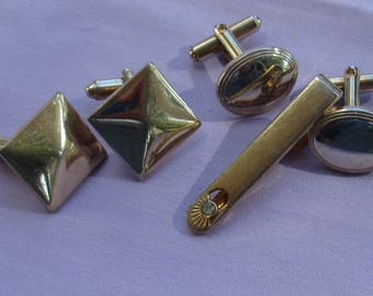 Lot Of Vintage Metal Cuff Links & Rhinestone Tie Clip