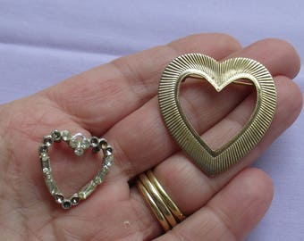 Lot Of Vintage Heart Shaped Brooch's One Missing Rhinestones Repair Repurpose