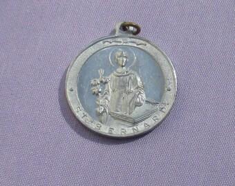 Vintage Saint Bernard Aluminum Religious Medal