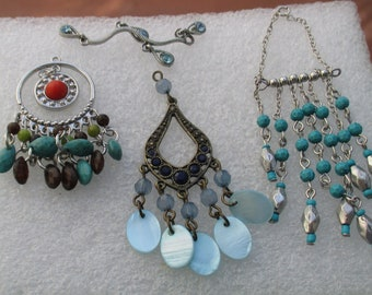 Lot Of Salvaged Dangling Beaded Pendants