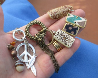 Lot Of Salvaged Pendants Beaded Dangles Peace Sign Metal Feathers
