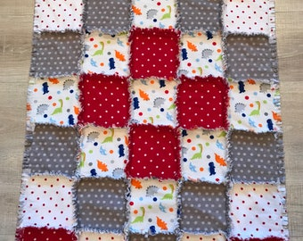 Flannel quilt, Flannel blanket, Baby blanket, Boy quilt, dinosaur nursery, red gray polkadot;10% of purchase price charity of buyer's choice
