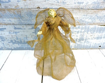 Angel Figurine- Made of Gold Screen Vintage Angel Collector Figurine Childs Room Decor Old Christmas Tree Topper