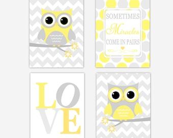 OWLS Twin Baby Nursery Wall Art Yellow Gray Baby Girl Decor Baby Boy Decor Gray Chevron Owl Baby Nursery Twins Wall Art Baby Nursery Decor