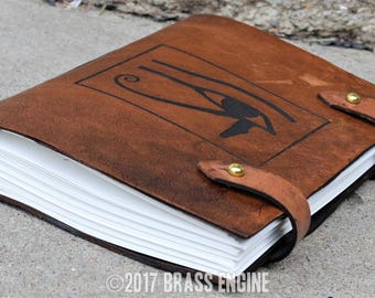 Eye of Horus Sketch Journal 6x9 - 120 pages - Hand Bound - Laser Etched - Briar Brown - Egyptian