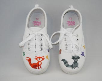 HAND PAINTED Fall shoes, Fox shoes, Autumn Shoes, Woodland animal Shoes, Toddler Child and Youth Sizes
