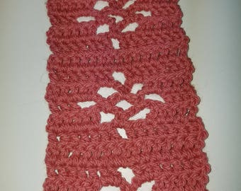Scarf salmon colored acrylic  62x 3 1/4 inches crocheted