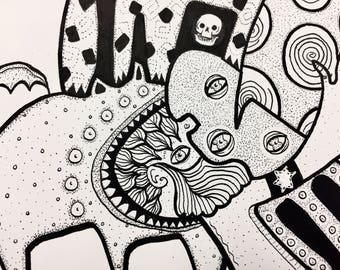 "Original Art ""Ideas are empires"" ink illustration by evilchimpo"