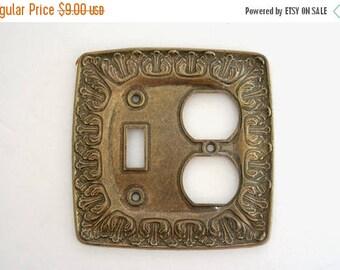 SALE Brass Outlet Light Switch Cover, Leaves Scroll Leaf Vine Outlet Cover, Vintage Gold Brass Outlet Plate Cover, Vintage Home Decor Switch