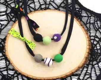 Felt ball necklace, halloween necklace, kids accessory, kids accessories, wool ball necklace, kids gift, halloween felt ball necklace