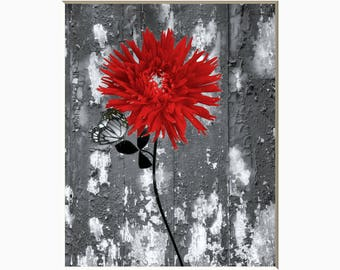 Black White Red Modern Wall Art, Red Rose Flower, Red Home Decor Wall Art Matted Picture