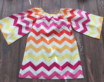 Little Girl Peasant Style Dress, bright pink, yellow and orange chevron, 2T, ready to ship!  A-line summer dress, tunic dress