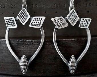 Industrial Tribal Drop Earrings , Hand Stamped Textured Sterling Teardrop Hoops , Dark Silver Jewelry
