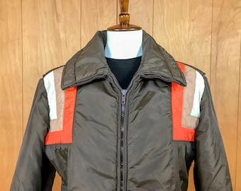 Vintage 70s Ski Jacket, Mens Ski Jacket, Vintage Skyr, 70s Orange Brown Ski Jacket, Medium Large, ski jacket 80s, puffy coat, puffer jacket