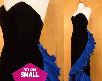 80s Velvet Prom Dress Big Blue Ruffles Formal Evening Gown Strapless ~ Small